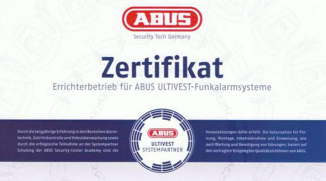 ABUS Ultivest Funkalarmanlagen Errichter