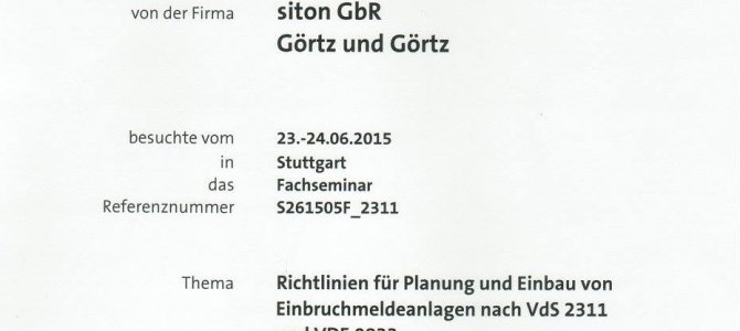 zertifizierung richtlinien für planung und einbau von einbruchmeldeanlagen nach vds 2311 und vde 0833